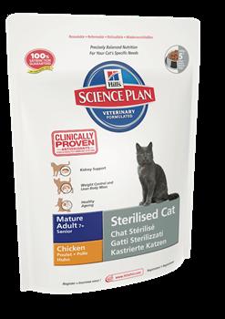 Hill's Science Plan Mature Adult 7+ Sterilised Cat Chicken для пожилых стерилизованных кошек старше 7 лет Курица - фото 4516