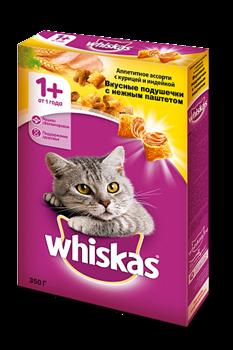 Вискас сух.д/кошек подушечки/паштет Курица/Индейка 350г - фото 5138