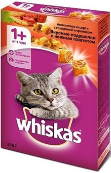 Вискас сух.д/кошек подушечки/паштет Говядина/Кролик 350г - фото 5142