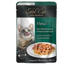 Паучи Edel Cat для кошек утка/ кролик в соусе 100гр - фото 5169