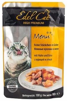 Паучи Edel Cat для кошек курица/ утка в желе100гр - фото 5173