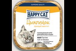 Паштет Happy Cat для кошек цыпленок 100 гр - фото 5355