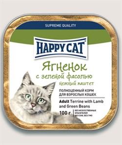 Паштет Happy Cat для кошек ягненок с зеленой фасолью 100 гр - фото 5356