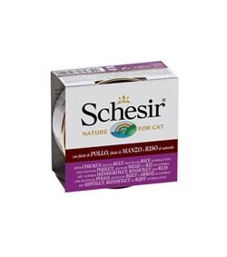 """Schesir"" консервы для кошек Курица и говядина с рисом 85гр - фото 5395"