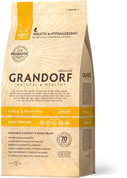 Grandorf 4Meat&Rice PROBIOTIC STERILISED для кошек 4 мяса с рисом 2 кг - фото 5530