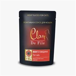 Пауч CLAN De File для кошек Говядина с цукини соусе 85 г - фото 5578