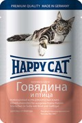 Паучи Happy Cat для кошек Говядина и Птица