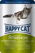 Паучи Happy Cat для кошек Ягненок и Телятина