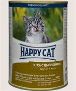 Консервы Happy Cat для кошек утка/ цыпленок в желе 400 гр